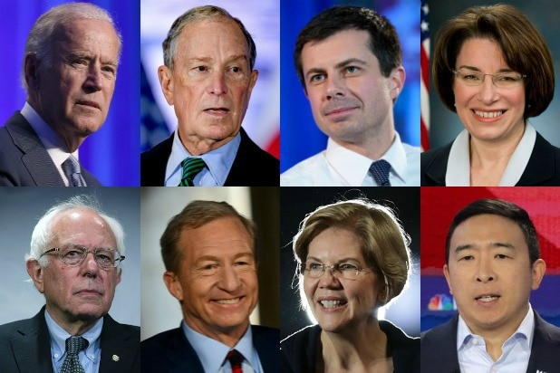 Democratic candidates Biden Bloomberg Buttigieg Klobuchar Bernie Sanders Mike Steyer Elizabeth Warren Andrew Yang