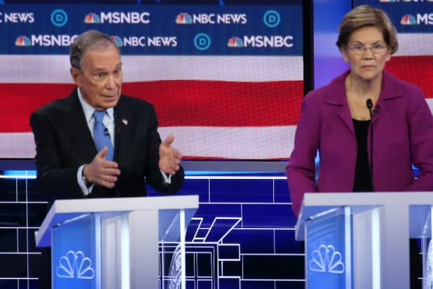 Mike Bloomberg and Elizabeth Warren debate in Las Vegas
