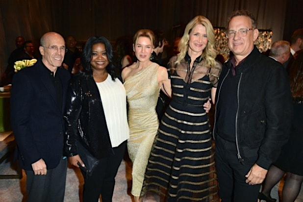 Oscars party Jeffrey Katzenberg Octavia Spencer Renee Zellweger Laura Dern Tom Hanks