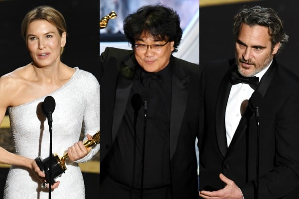 Renee Zellweger, Bong Joon Ho, and Joaquin Phoenix oscar winners 2020