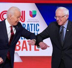 Joe Biden Bernie Sanders Debate Elbow Bump Coronavirus CNN