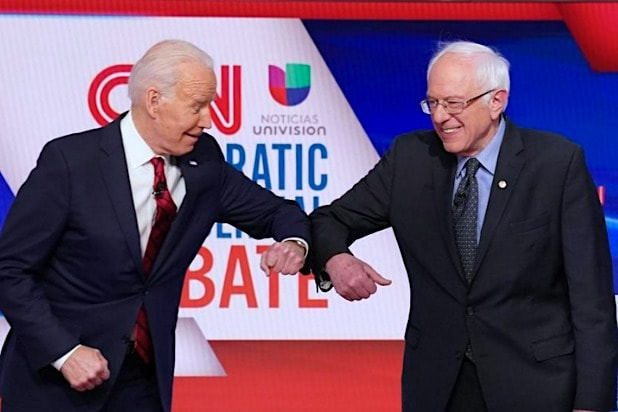 Joe Biden Bernie Sanders Debate Elbow Bump Coronavirus CNN