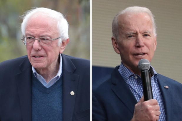 Democratic presidential candidates Bernie Sanders and Joe Biden