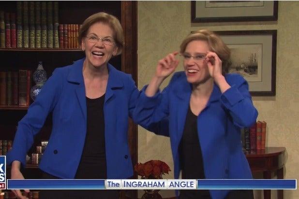 Snl The Real Elizabeth Warren Joins Kate Mckinnon S Elizabeth Warren For Cold Open Video