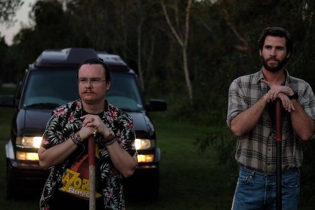 Clark Duke and Liam Hemsworth in Arkansas