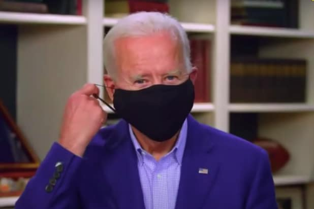 Joe Biden Makes a Show of Removing Mask for Interview With Colbert