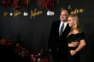 """Oscar-winning producer and CEO of Sugar23, Michael Sugar and wife Lauren Sugar at the premiere for Apple TV+'s """"Dickinson,"""" which Sugar 23 produced"""
