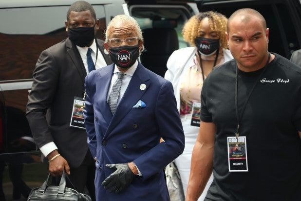 Al Sharpton arrives at George Floyd memorial