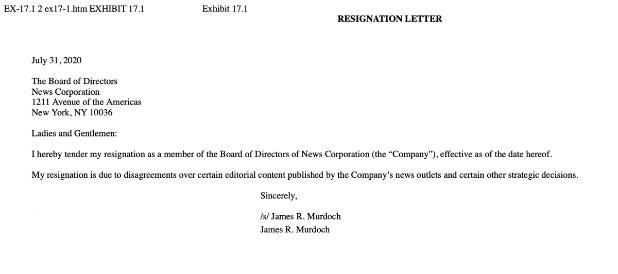 Resignation Letter James Murdoch