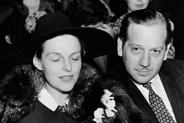 Melvyn Douglas sits with his wife actress Helen Gahagan Douglas