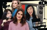 female podcast host