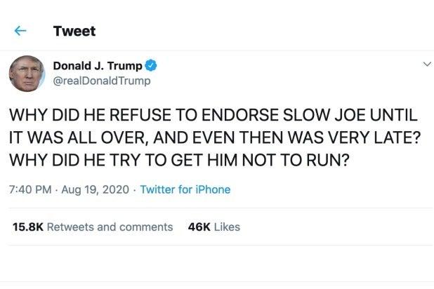 Donald Trump tweet Barack Obama Joe Biden DNC
