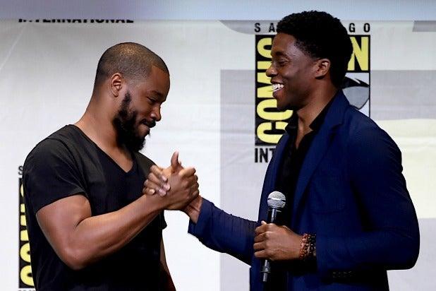 Ryan Coogler and Chadwick Boseman attend the San Diego Comic-Con International 2016 Marvel Panel