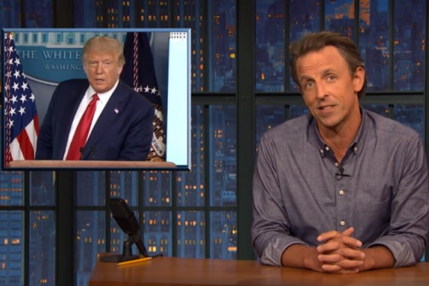 seth meyers tells trump to go fuck himself for not caring about blue state covid deaths