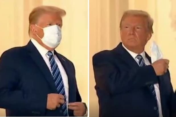 Trump removing mask at White House