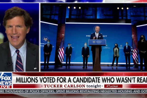tucker carlson says a lot of made up things about joe biden and his cabinet picks
