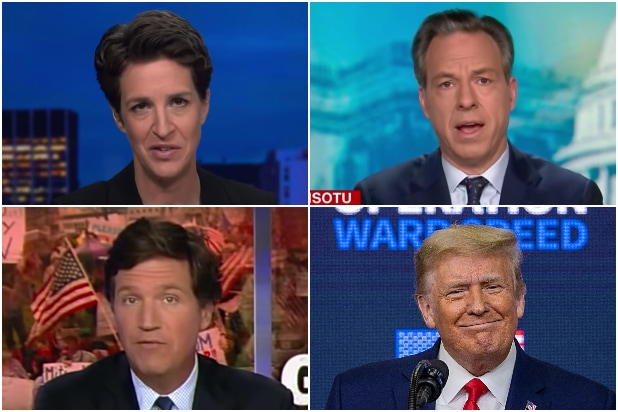 MSNBC's Rachel Maddow, CNN's Jake Tapper, Fox News' Tucker Carlson, Trump