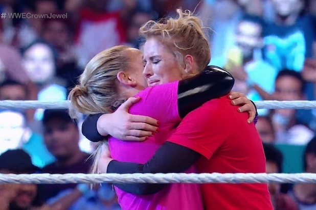 WWE's Lacey Evans Says Historic Saudi Arabia Embrace Was Not Preplanned: 'I  Am Not a Hugger' (Video)