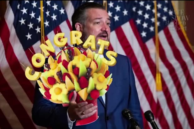 the late show with stephen colbert edible arrangements for coward republicans to secretly congratulation biden for beating trump