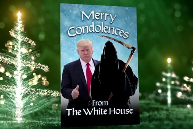 the late show with stephen colbert trump covid christmas card