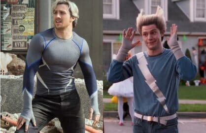 Aaron Taylor-Johnson and Evan Peters as Quicksilver