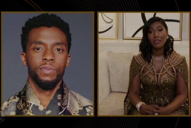 Taylor Simone Ledward Chadwick Boseman Golden Globes
