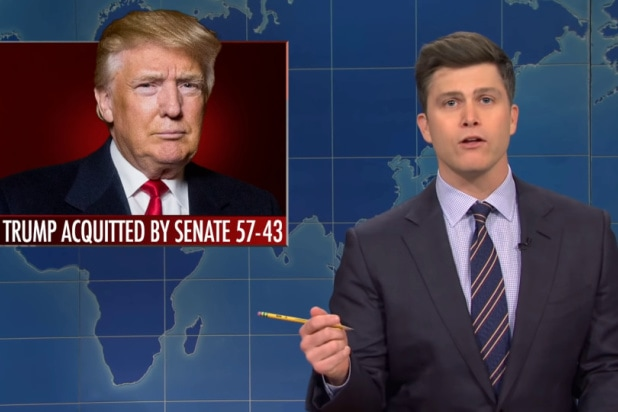 snl saturday night live weekend update colin jost says trump impeachment was dumbest trial i've ever seen