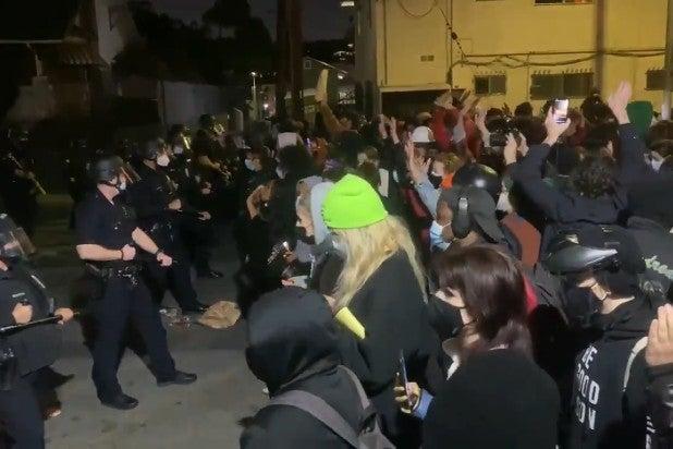 Echo Park Protest Arrests Kate Cagle Spectrum News