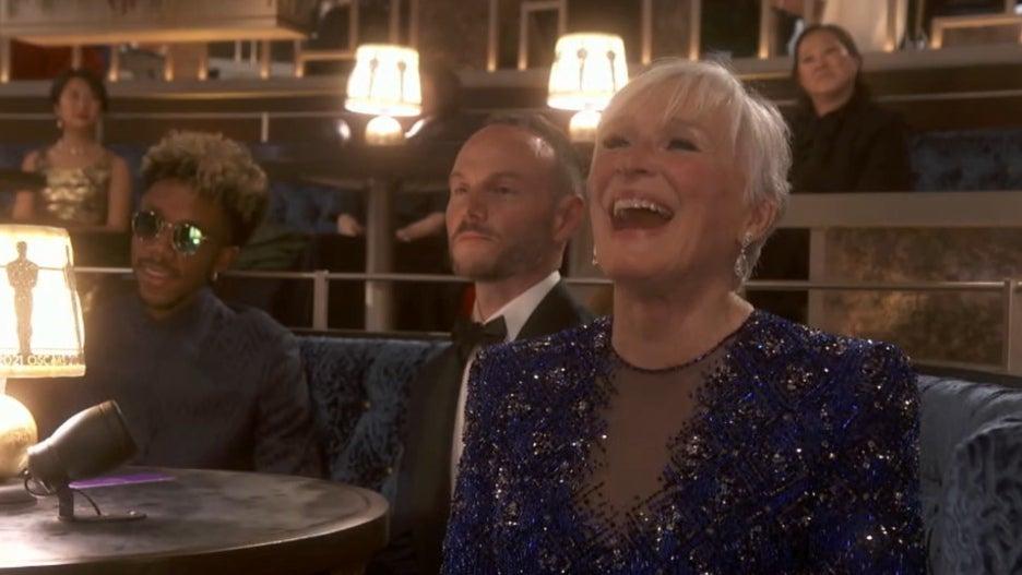 Glenn Close reacting to Yuh-Jung Youn 2021 Oscars