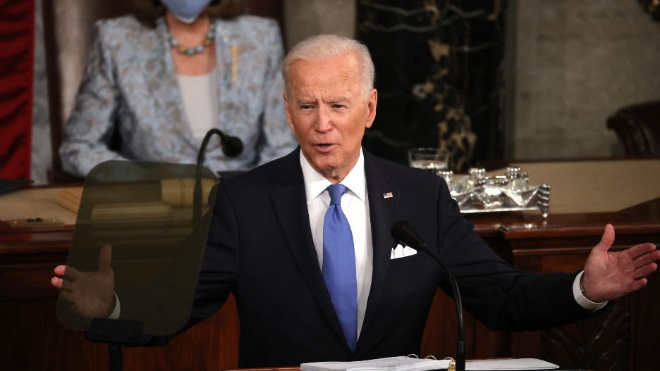 Joe Biden Arms Spread Wide at Joint Session Speech