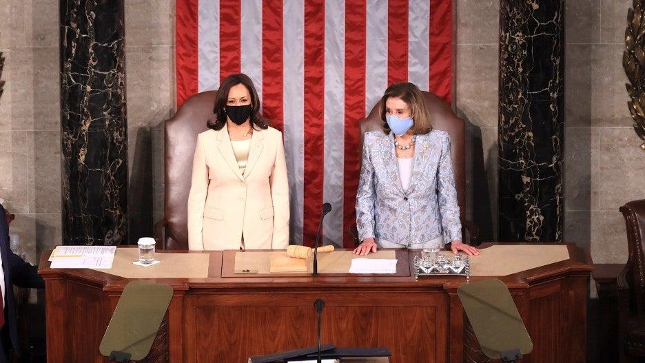 Kamala Harris and Nancy Pelosi at Joint Session Speech
