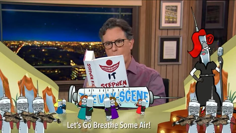 <p>Colbert Reps That the COVID Vaccines by Being Hilariously Bad at Newer Slang (Video) thumbnail