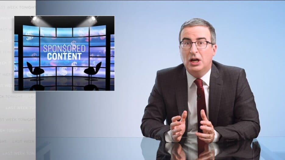 john oliver sponsored content