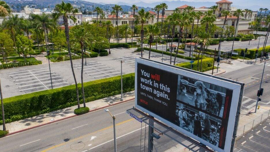 pandemic empty paramount lot netflix billboard