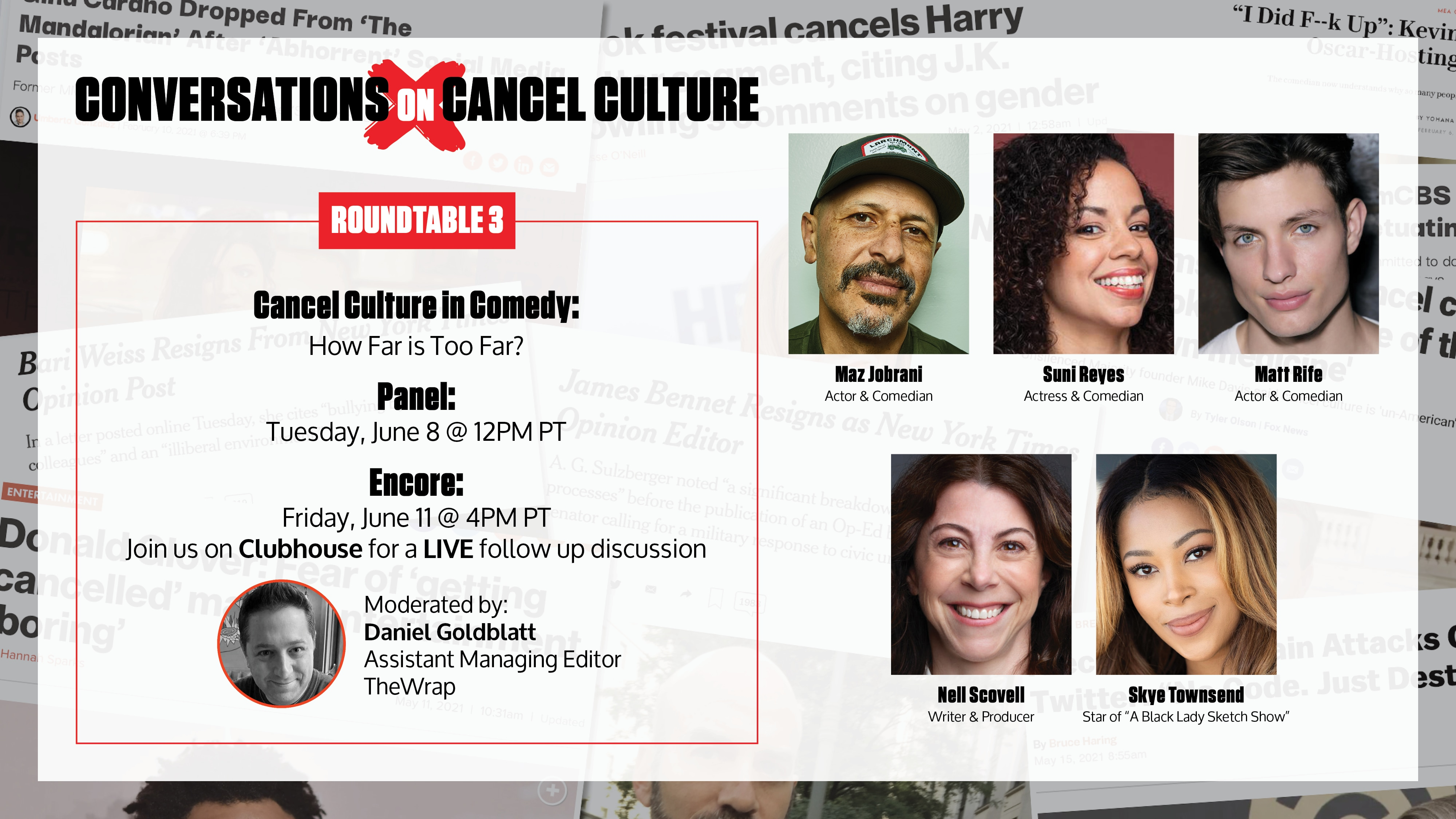 <p>Join a Conversation on'Cancel Culture in Comedy' with Maz Jobrani, Skye Townsend, Matt Rife and Suni Reyes thumbnail