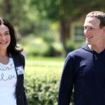 Mark Zuckerberg walks with COO of Facebook Sheryl Sandberg
