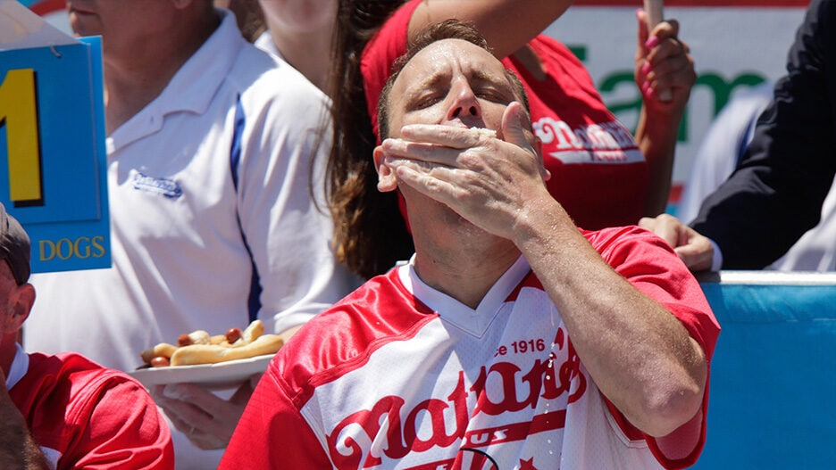 ESPN joey chestnut hot dog eating contest