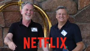 Co-CEOs of Netflix Reed Hastings and Ted Sarandos (Photo by Kevin Dietsch/Getty Images)