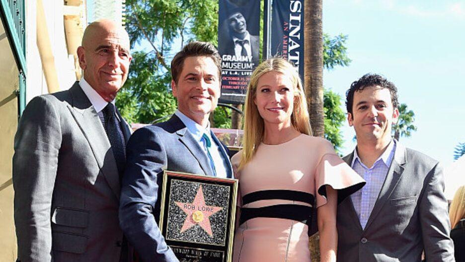 Tom Barrack (L) with stars Rob Lowe, Gwyneth Paltrow and Fred Savage