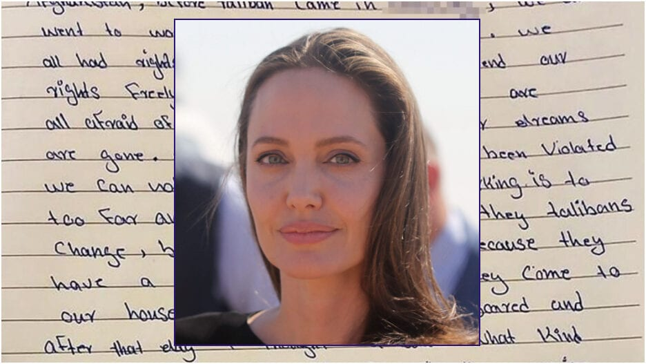 Angelina Jolie afghan girl letter