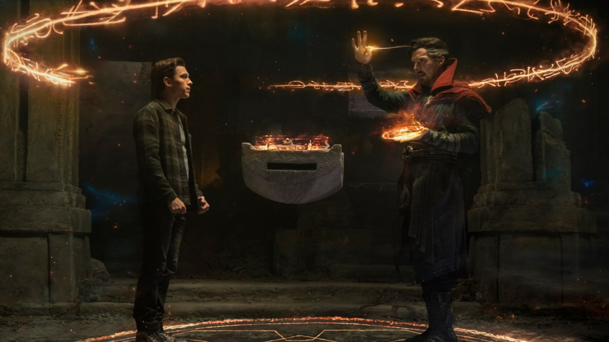 """Benedict Cumberbatch as Doctor Strange (right) and Tom Holland as Spider-Man (left) in in """"Spider-Man: No Way Home"""""""