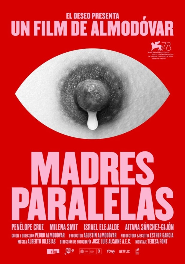 madres paralelas parallel mothers movie poster pedro almodovar lactating breast