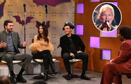 """Nicholas Braun, or is it Lindsey Buckingham in a Cousin Greg from """"Succession"""" costume on """"SNL"""""""
